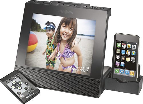 best buy 8 insignia digital photo frame with apple ipod dock 4999