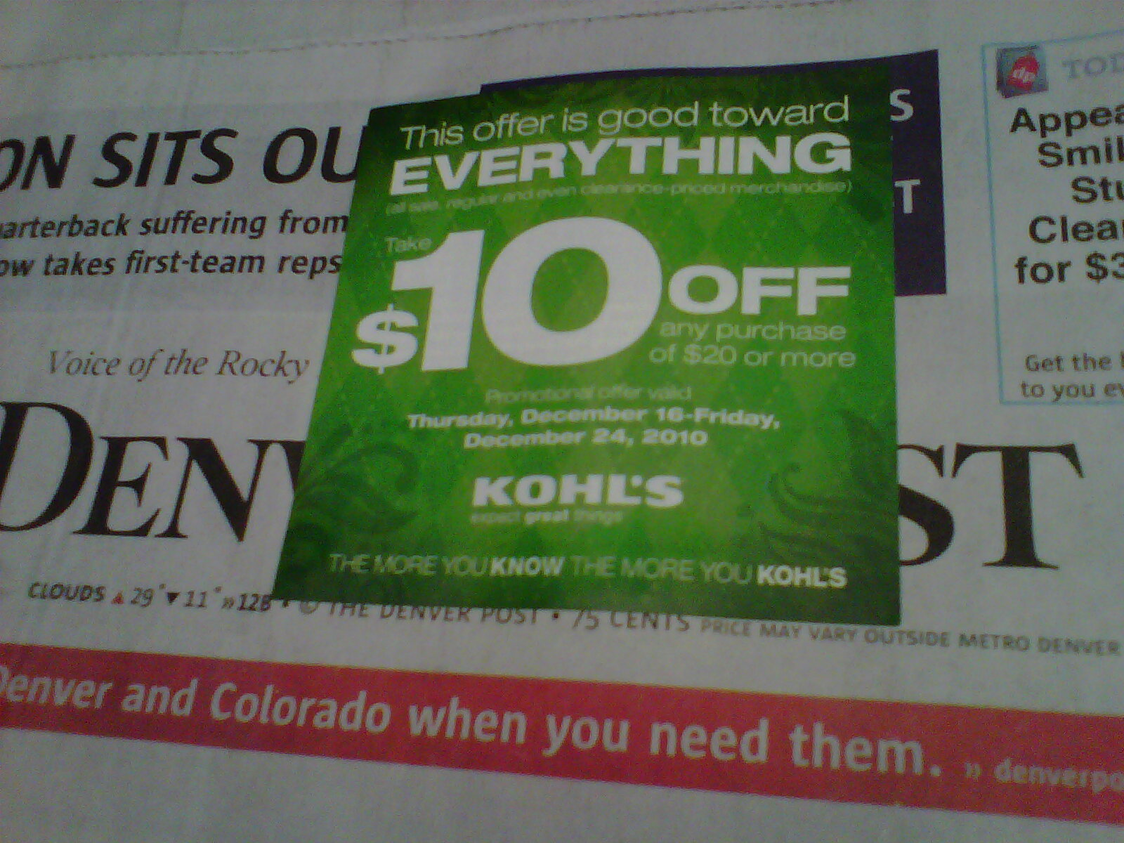 It is a graphic of Magic Kohls 10 Off Coupons Printable