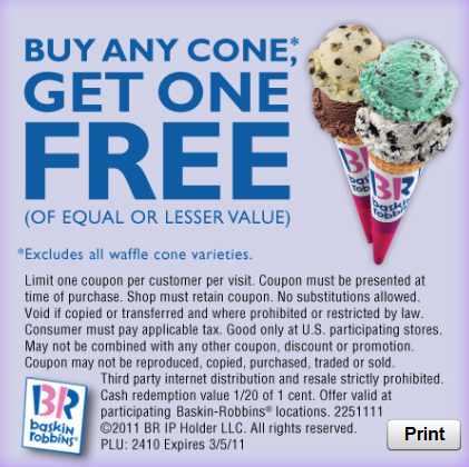 Baskin Robbins Coupon Buy One Cone Get One Free