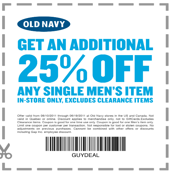 Oct 02,  · Print out these coupons and get a 15% discount, valid at Old Navy Outlet stores, Banana Republic Factory stores, and Gap Factory. $4 Deals For The Family (In Store Only) Head on over to Old navy stores today and get Items for the family for only $4, coupons not required/5(65).