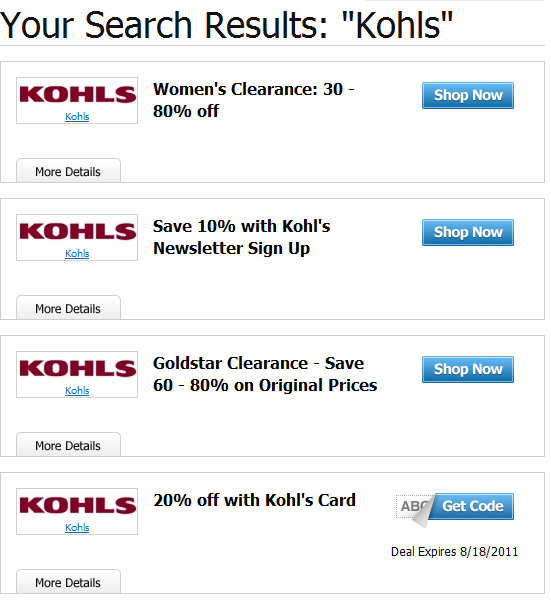 Current kohls coupon codes