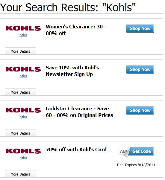 Current kohls coupon codes