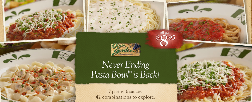 Giveaway 25 to olive garden never ending pasta bowl deal for Olive garden endless pasta bowl