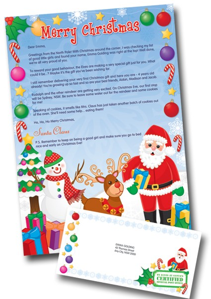letters to santa 2011 personalized letter from santa only 01 shipped today 11 9250