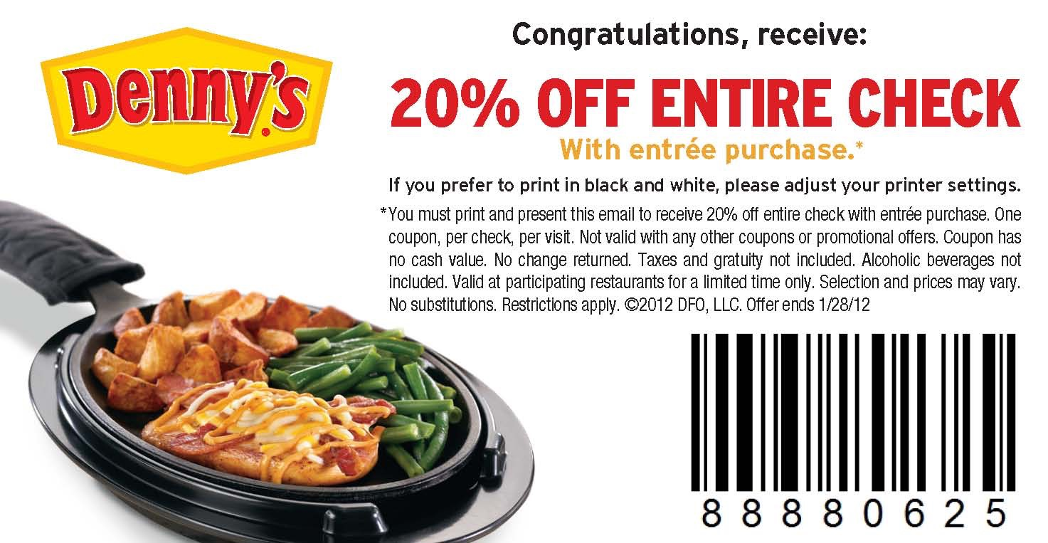 Denny's: 20% Off Entire Purchase Coupon Valid Through 1/28!