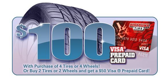 Discount Tire Rebate Reminder: $100 Visa Pre-Paid Card!