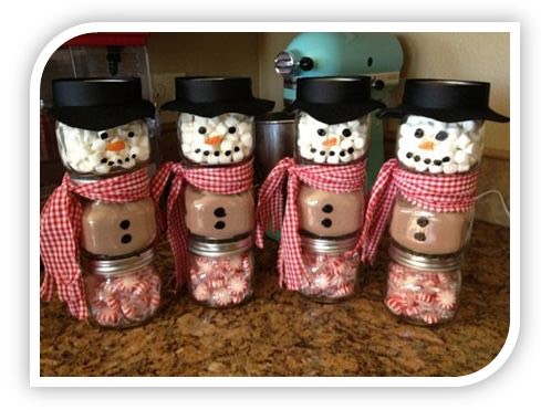 Craft Ideas Glass Jars on Homemade Christmas Gift Ideas  Stacked Jar Hot Chocolate Snowmen