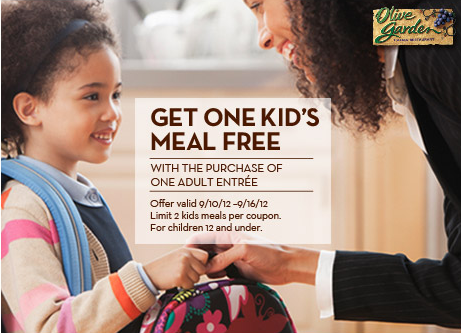 Olive Garden Kids Eat Free Through September 16th