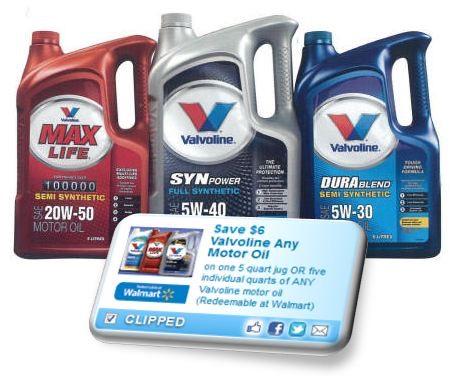 Rare High Value Coupon 6 Off Valvoline Motor Oil