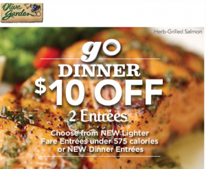 Olive Garden Save 10 On The Purchase Of 2 Dinner Entrees