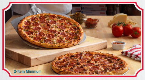 2 Medium 2-Topping Pizzas for $ Each Choose Any 2 or more; Medium 2-Topping Pizza, Marbled Cookie Brownie, Specialty Chicken, Oven Baked Sandwich, Stuffed Cheesy Bread, 8-piece Chicken, or Pasta in a Dish for $ each.