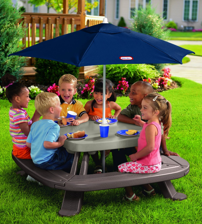 Little tikes fold 39 n store table with market umbrella 79 - Children s picnic table with umbrella ...