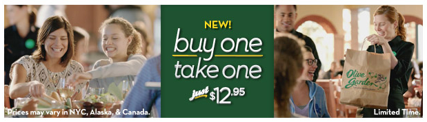 Olive Garden Buy At Meal For And Get One To Take Home For Free