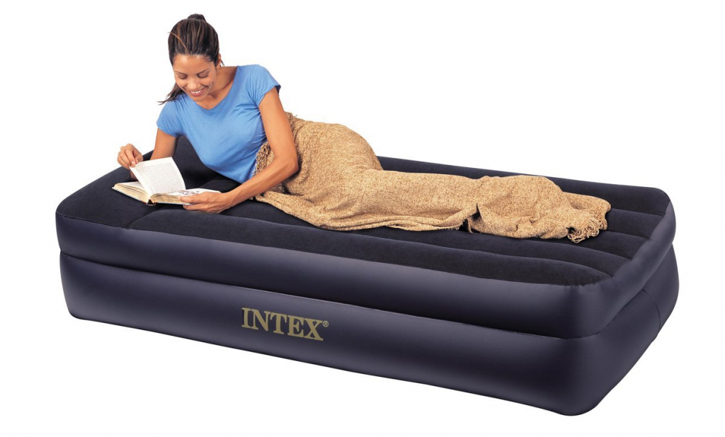 Intex Pillow Rest Twin Airbed With Built In Electric Pump