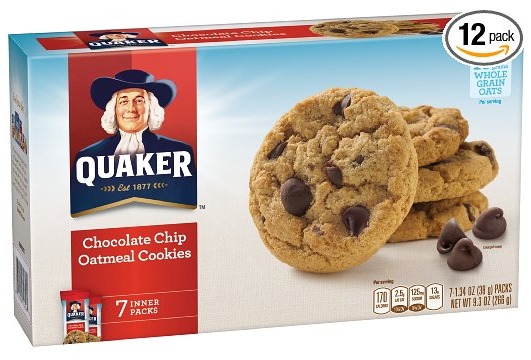 Quaker Chocolate Chip Oatmeal Cookies 12 Boxes Only $11.52 ... Oatmeal Chocolate Chip Cookies Packaging