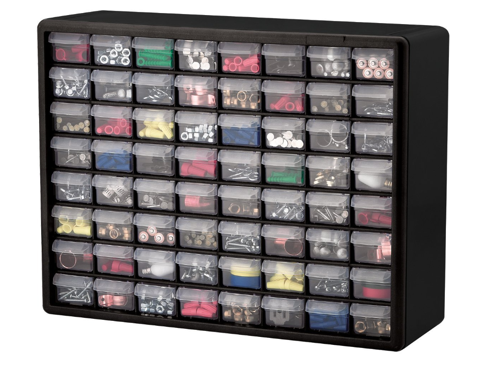 Akro mills 64 drawer storage hardware craft organizer for Craft wall storage system