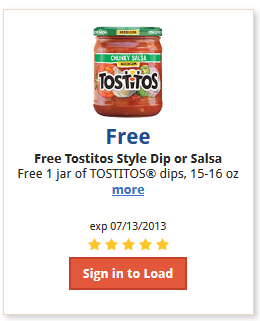 To claim your coupon, two ounce bags of Tostitos Scoops Tortilla Chips, a jar of Tostitos Medium Chunky Salsa and a jar of Tostitos Salsa Con Queso.