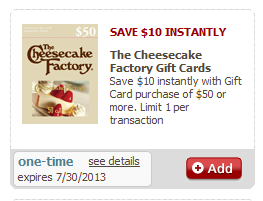 Cheesecake factory discount coupons