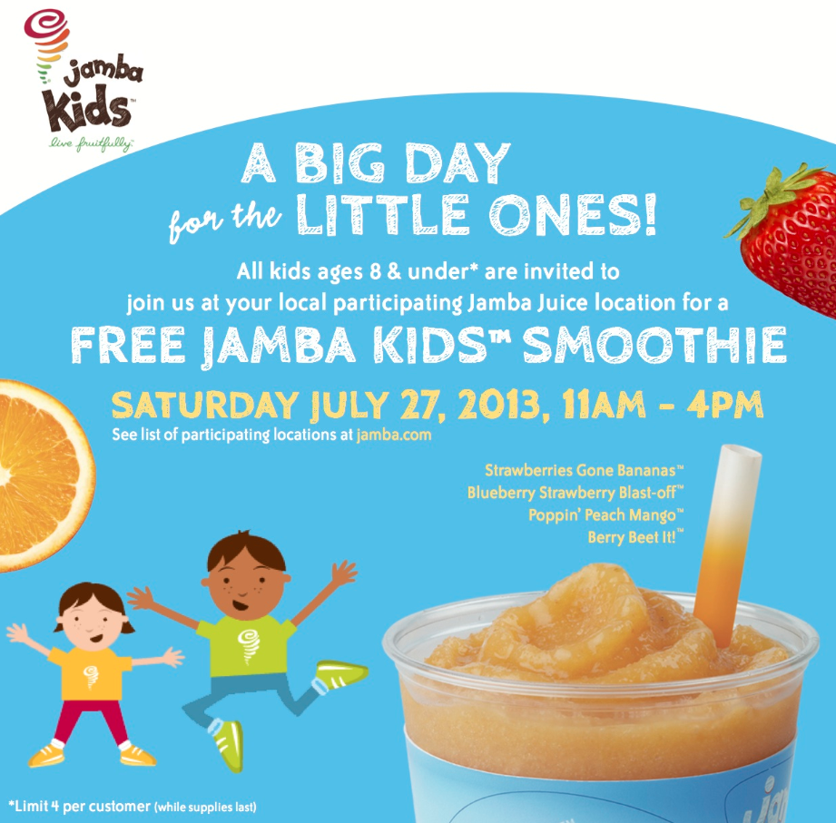 Kids Eat Free Card Offer: Kids Eat Free Off Regular Kids' Menu Serving Up Wholesome Nutrition & Healthy Living. Jamba Juice started out as a little juice shop with a big idea - .