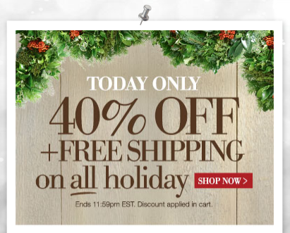 Home decorators collection 40 off holiday items free for Home decorators shipping code
