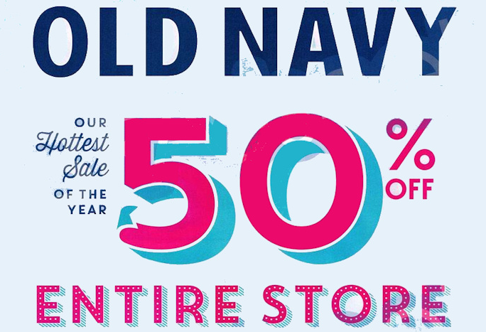 The Old Navy Black Friday savings kick into high gear on Wednesday, 11/ You'll get 50% off your entire purchase both in stores and online. Plus, there will be thousands of styles marked down.