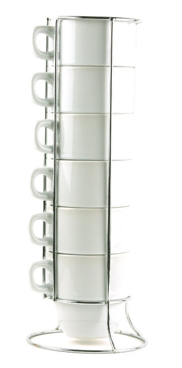 Top 6 Piece Large-Sized Stacking Mug Set with Metal Stand Only $7.95  VD06
