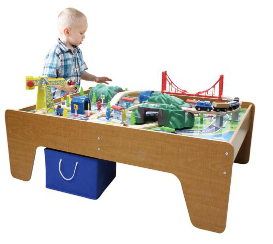 100 piece cityscape or mountain wooden train set and table for 100 piece cityscape train set and wooden activity table