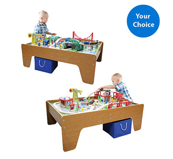100-piece Cityscape or Mountain Wooden Train Set and Table $69 (down ...