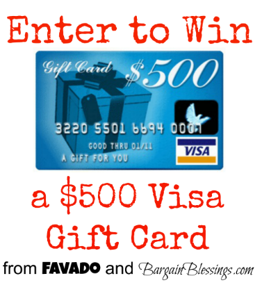 Giveaway win a 500 visa gift card from bargain blessings and favado negle Choice Image