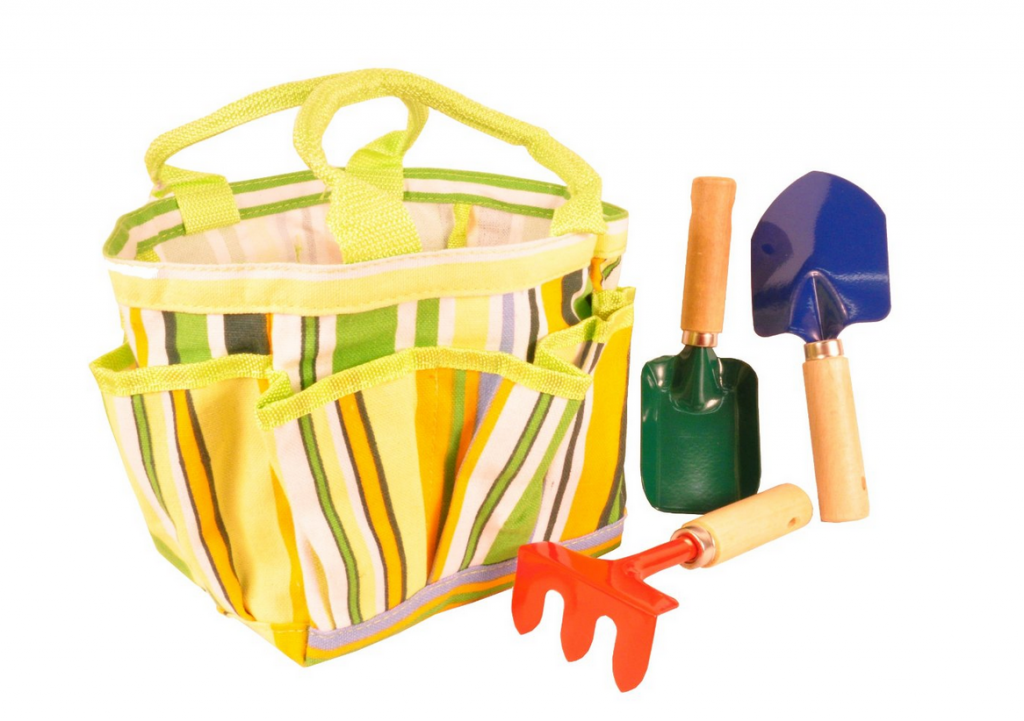 Kids garden tool set with tote down from for Gardening tools on sale