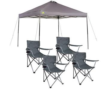 Ozark Trail 10x10 Canopy 4 Folding Quad Arm Chairs Just