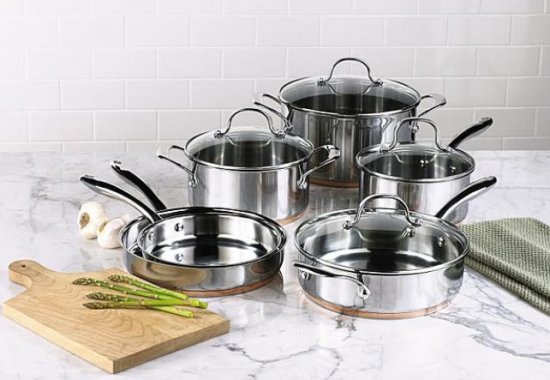 Kenmore 10 Piece Stainless Steel With Copper Band Cookware