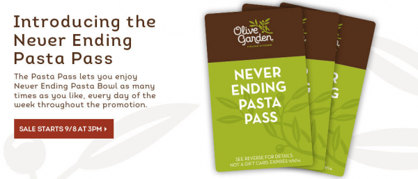 Olive Garden Never Ending Pasta Pass 7 Weeks Of All You
