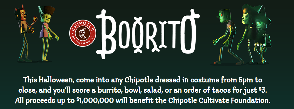 Chipotle Halloween Deal: $3 Entrees from 5pm to Close on October 31st!