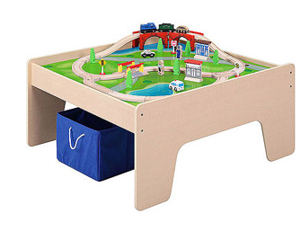 Wooden Activity Table with 45-Piece Train Set & Storage Bin Just $55.83!