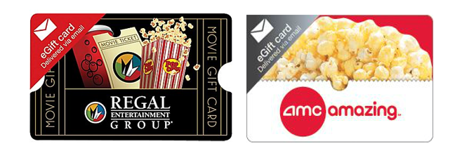 Discounted Movie Gift Cards: AMC Theatres & Regal Entertainment ...