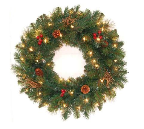 pre lit hawkins pine artificial wreath with clear lights pine cones berries and twigs for just 1299