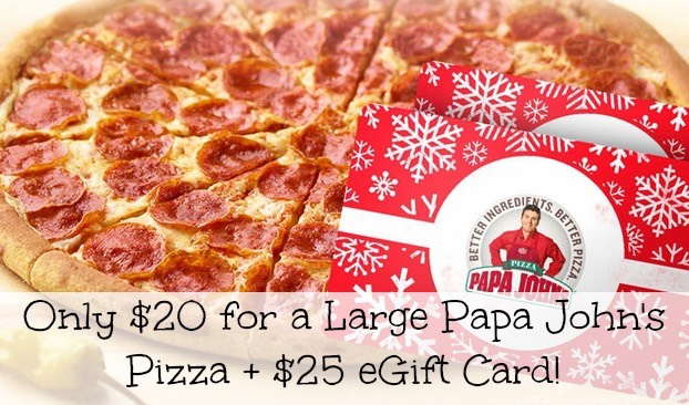 papa john gift card hot groupon deal large papa john s pizza 25 egift 7113